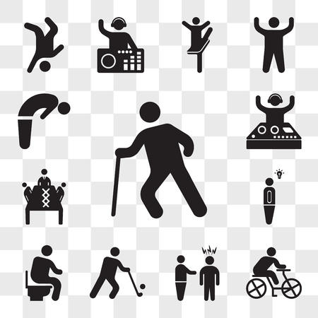 Set Of 13 transparent icons such as Old man walking, Cyclist, Man threating, Golfer, sitting on the Toilet, Light bulb idea, Business meeting, Party Dj, web ui editable icon pack, transparency set