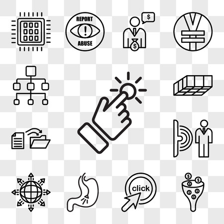 Set Of 13 transparent icons such as touchpoint, sales pipeline, click me, endoscopy, global expansion, motion sensor, data migration, mould, web ui editable icon pack, transparency set