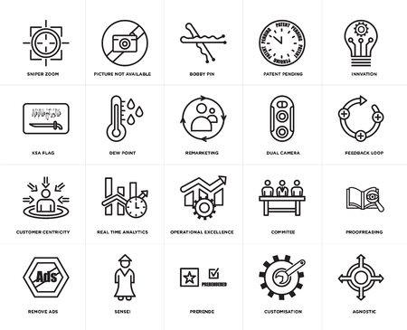 Set Of 20 simple editable icons such as agnostic, feedback loop, innvation, patent pending, remove ads, picture not available, commitee, ksa flag, web UI icon pack, pixel perfect