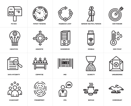 Set Of 20 icons such as cormorant, biryani, cpa, fingerprint, headcount, our mission, dongle, imei, data integrity, agnostic, feedback loop, web UI editable icon pack, pixel perfect