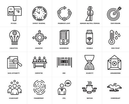 Set van 20 pictogrammen zoals aalscholver, biryani, cpa, vingerafdruk, personeelsbestand, onze missie, dongle, imei, gegevensintegriteit, agnostisch, feedbacklus, bewerkbaar pictogrampakket voor webgebruikersinterface, pixel perfect Vector Illustratie