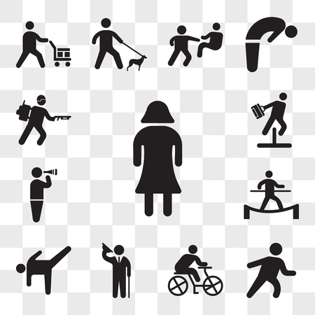 Set Of 13 transparent icons such as Woman with dress, Runner, Cyclist, Elegant man saluting, Dancer Pose, Man in balance on a tightrope, web ui editable icon pack, transparency Illustration