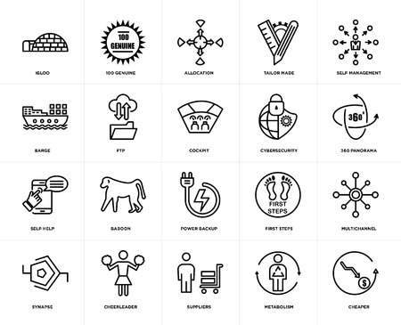 Set Of 20 simple editable icons such as cheaper, 360 panorama, self management, tailor made, synapse, 100 genuine, first steps, barge, web UI icon pack, pixel perfect