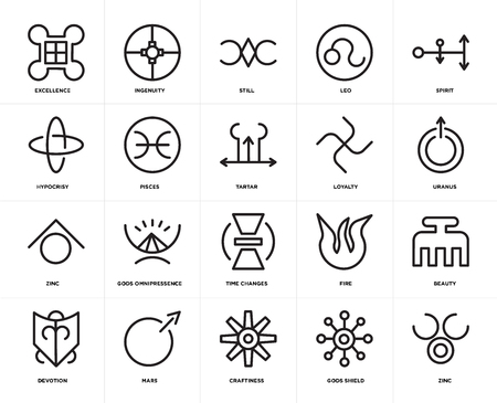Set Of 20 icons such as Zinc, Gods shield, Craftiness, Mars, Devotion, Spirit, Loyalty, Time changes, Pisces, Still, web UI editable icon pack, pixel perfect