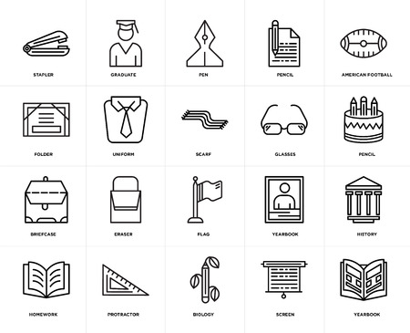 Set Of 20 icons such as Yearbook, Screen, Biology, Protractor, Homework, American football, Glasses, Flag, Briefcase, Uniform, Pen, web UI editable icon pack, pixel perfect