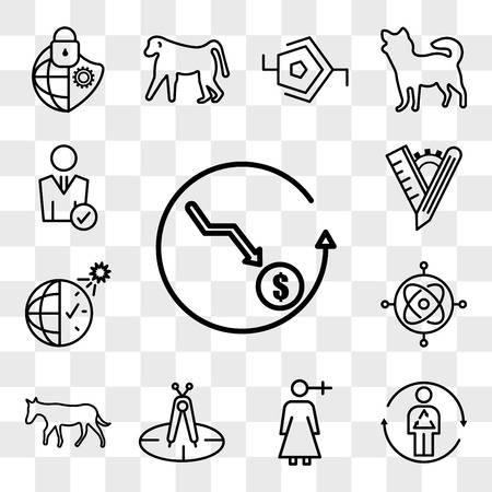Set Of 13 transparent editable icons such as cheaper, metabolism, woman gender, calibration, ass, gyroscope, daylight savings, tailor made, user, web ui icon pack, transparency set