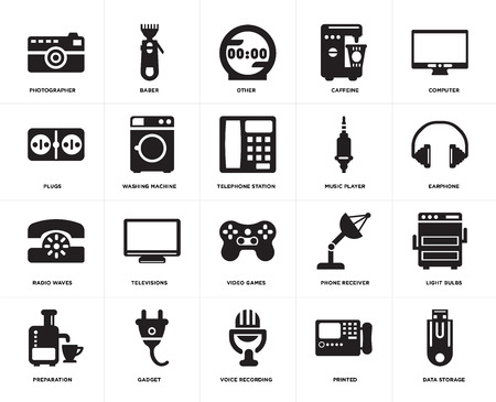 Set Of 20 simple editable icons such as Data storage, Earphone, Computer, Caffeine, Preparation, Baber, Phone receiver, Plugs, web UI icon pack, pixel perfect