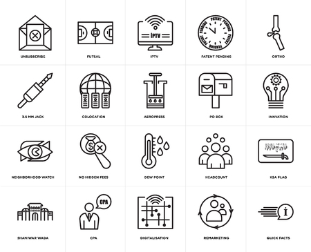 Set Of 20 icons such as quick facts, remarketing, digitalisation, cpa, shaniwar wada, ortho, po box, dew point, neighborhood watch, colocation, iptv, web UI editable icon pack, pixel perfect Stock Illustratie