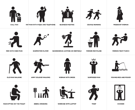 Set Of 20 simple editable icons such as Businessman jumping an obstacle, Thief, Working with laptop, Zebra crossing, Person recycling, web UI icon pack, pixel perfect