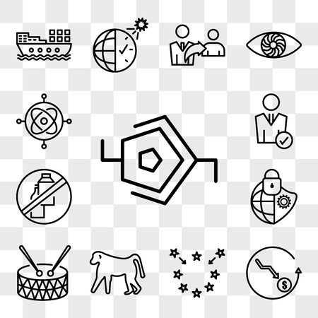 Set Of 13 transparent editable icons such as synapse, cheaper, brexit, baboon, marching band, cybersecurity, dairy free, user, gyroscope, web ui icon pack, transparency set