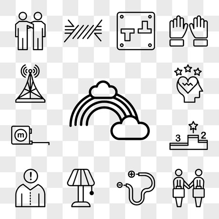 Set Of 13 transparent editable icons such as Rainbow, Deal, Wire, Lamp, Think, Podium, Measuring tape, Love, Antenna, web ui icon pack, transparency set Vectores