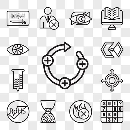 Set Of 13 transparent editable icons such as feedback loop, sudoku, fire retardant, scarcity, rohs, agnostic, hygrometer, matchmaking, bloodshot eye, web ui icon pack, transparency set