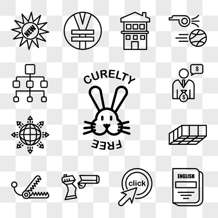 Set Of 13 transparent editable icons such as cruelty free, english subject, click me, broken gun, bear trap, mould, global expansion, cfo, org chart, web ui icon pack, transparency set