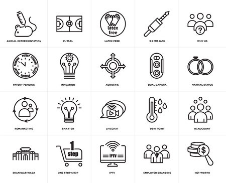 Set Of 20 simple editable icons such as net worth, marital status, why us, 3.5 mm jack, shaniwar wada, futsal, dew point, patent pending, web UI icon pack, pixel perfect Ilustração