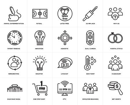 Set von 20 einfachen bearbeitbaren Symbolen wie Vermögen, Familienstand, warum wir, 3,5-mm-Buchse, Shaniwar Wada, Futsal, Taupunkt, zum Patent angemeldet, Web-UI-Symbolpaket, Pixel perfekt Vektorgrafik