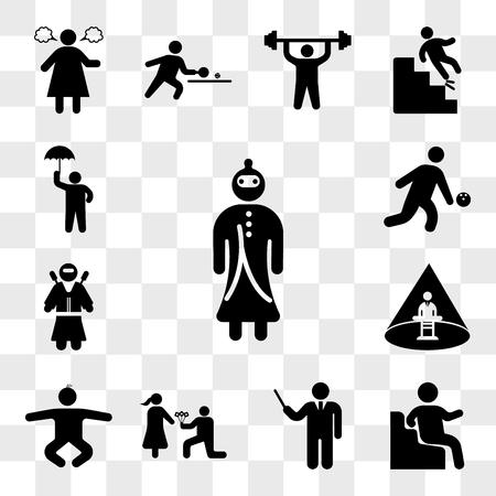 Ensemble de 13 icônes transparentes telles que guerrier samouraï, assis, directeur élégant, homme donnant des fleurs, bébé garçon, homme enlevé, guerrier Ninja, bowling, pack d'icônes modifiable de l'interface utilisateur web, jeu de transparence Vecteurs
