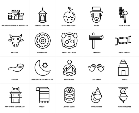 Set Of 20 simple editable icons such as Jewish Incense, Magic Carpet, Four Species, Rabbi, Ark of the Convenant, Islamic Lantern, Dua Hands, Sac cow, web UI icon pack, pixel perfect