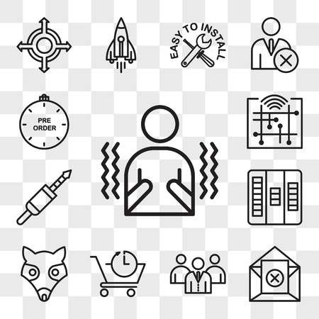 Set Of 13 transparent editable icons such as shivering, unsubscribe, employer branding, pre order, possum, kanban, 3.5 mm jack, digitalisation, preorder, web ui icon pack, transparency set Stock Illustratie