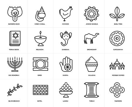 Set Of 20 icons such as Flowers, Torah, Laddu, Kotel, Olive Branch, Bael tree, Dromedary, Karma, Big Menorah, Religion, Chicken, web UI editable icon pack, pixel perfect