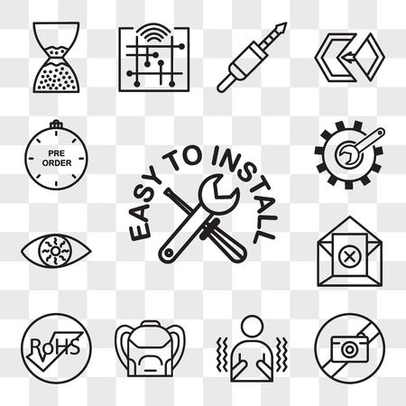 Set Of 13 transparent icons such as easy to install, picture not available, shivering, Backpack, rohs, unsubscribe, bloodshot eye, customisation, web ui editable icon pack, transparency set