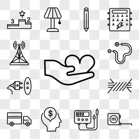 Set Of 13 transparent editable icons such as Hand, Measuring tape, Voltmeter, Mind, Truck, Wire, Socket, Antenna, web ui icon pack, transparency set Stock Illustratie