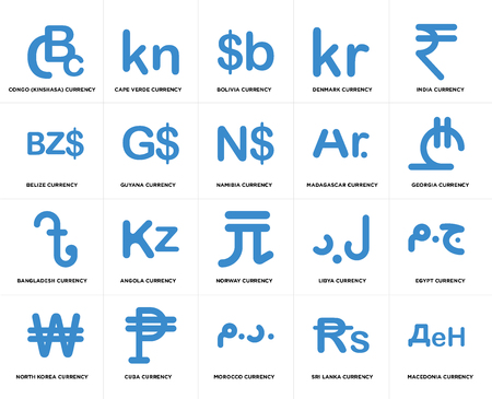 Set Of 20 simple editable icons such as Georgia currency, Morocco Cuba Belize Namibia web UI icon pack, pixel perfect Çizim