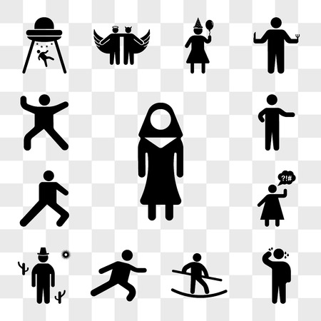 Set Of 13 transparent icons such as Nun, Man sweating, Tightrope Walker, Long Jump, Cowboy on desert, Angry Woman, Leg stretch, Person pointing, web ui editable icon pack, transparency set