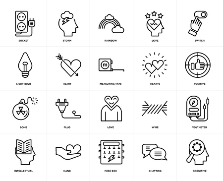 Set Of 20 icons such as Cognitive, Chatting, Fuse box, Hand, Intellectual, Switch, Hearts, Love, Bomb, Heart, Rainbow, web UI editable icon pack, pixel perfect Stock Illustratie