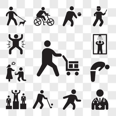Set Of 13 transparent editable icons such as Worker loading boxes, Doctor, Runner, Golfer, Podium, Backbend, Marry me, Shower, Man celebrating, web ui icon pack, transparency set Banque d'images - 111890349