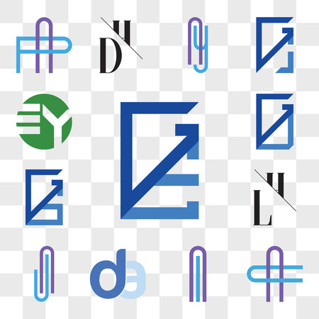Set Of 13 transparent editable icons such as GE, EG, AC or CA Letter, Al lA da, ad, AJ JA LH, HL, GS, SG, GU, UG, EY YE, web ui icon pack, transparency set Ilustração