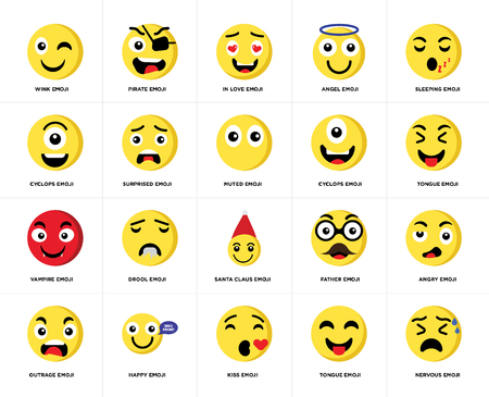 Set Of 20 simple editable icons such as Nervous emoji, Tongue Sleeping Angel Outrage Pirate Father Cyclops web UI icon pack, pixel perfect