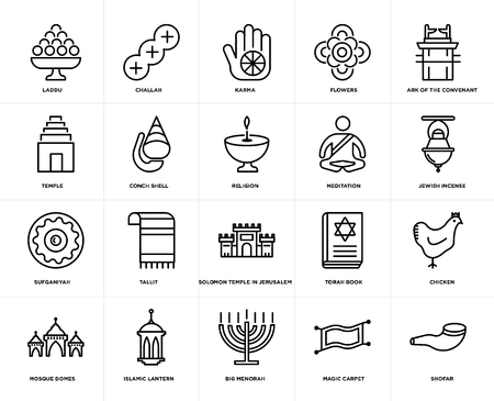Set Of 20 simple editable icons such as Shofar, Jewish Incense, Ark of the Convenant, Flowers, Mosque Domes, Challah, Torah Book, Temple, web UI icon pack, pixel perfect
