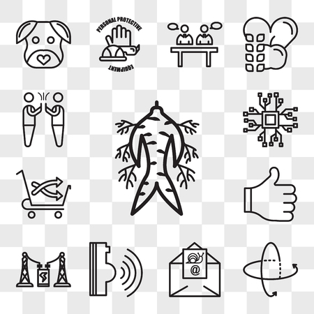 Set Of 13 transparent editable icons such as ginseng, 360 tour, snail mail, voice command, substation, thumbs up, cross sell, bigdata, hi five, web ui icon pack, transparency set