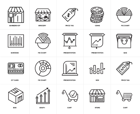 Set Of 20 icons such as Cart, Store, Graph, Box, Pie chart, Presentation, Cit card, Price tag, web UI editable icon pack, pixel perfect Banque d'images - 106750934