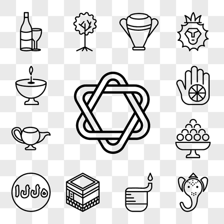 Set Of 13 transparent editable icons such as Star of David, Ganesha, Dipa, Kaaba Mecca, Allah Word, Laddu, Genie Lamp, Karma, Religion, web ui icon pack, transparency set