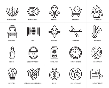 Set Of 20 simple editable icons such as data integrity, dew point, headcount, pre order, innvation, matchmaking, patent pending, Desk chair, web UI icon pack, pixel perfect