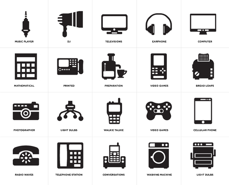 Set Of 20 simple editable icons such as Light bulbs, Bread loafs, Computer, Earphone, Radio waves, DJ, Video games, Mathematical, web UI icon pack, pixel perfect