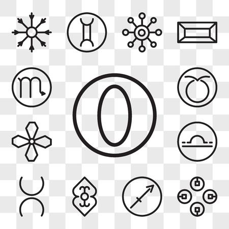 Set Of 13 transparent editable icons such as Greatness, Commitment, Sagittarius, Divinity, Tin, Libra, Soot, Taurus, Scorpio, web ui icon pack, transparency set Illustration