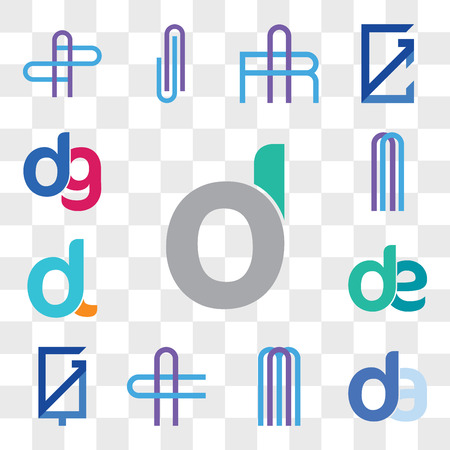Set Of 13 transparent editable icons such as d, oi, do, da, ad, AM or MA Letter, AC CA GQ, QG, de, ed, dl, ld, , dg, gd, web ui icon pack, transparency set