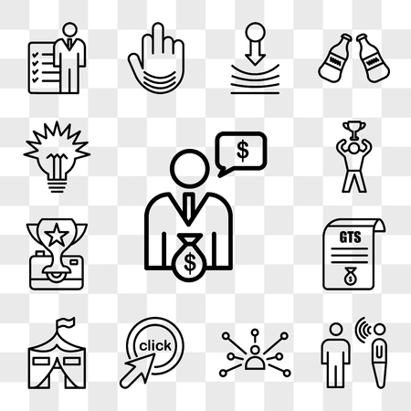 Set Of 13 transparent editable icons such as cfo, speech therapy, cross channel, click me, military base, gst, photo contest, achive, lumen, web ui icon pack, transparency set
