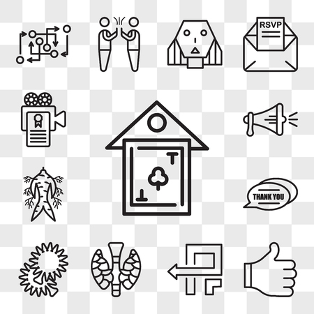 Set Of 13 transparent editable icons such as clubhouse, thumbs up, pivot, thyroid, pom pom, thank you, ginseng, spread the word, screenplay, web ui icon pack, transparency set Zdjęcie Seryjne - 106751075