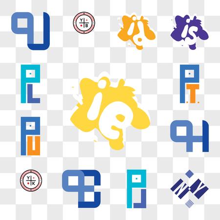 Set Of 13 transparent editable icons such as ie or ei, NY YN, PJ JP, QE, QD EQ, YK, QH HQ, PU UP, PT TP, PL LP, web ui icon pack, transparency set Vektoros illusztráció