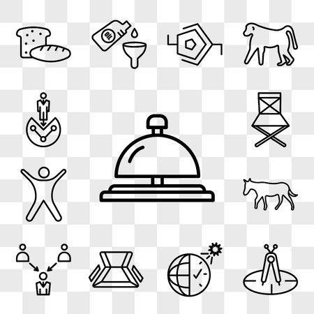 Set Of 13 transparent icons such as concierge bell, calibration, daylight savings, chair, employer of choice, ass, stickman, folding web ui editable icon pack, transparency set Ilustração