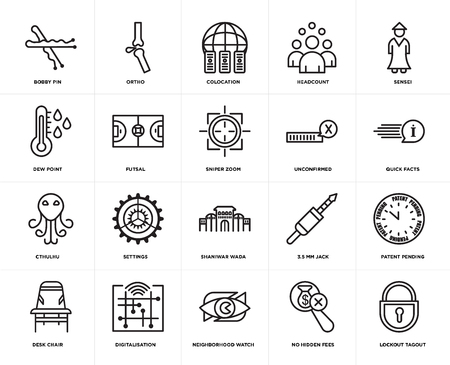 Set Of 20 simple editable icons such as lockout tagout, quick facts, sensei, headcount, Desk chair, ortho, 3.5 mm jack, dew point, web UI icon pack, pixel perfect 向量圖像