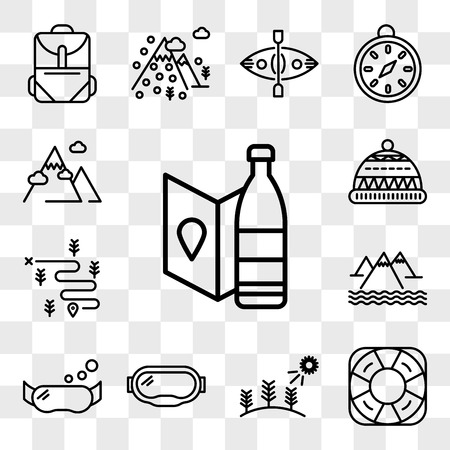 Set Of 13 transparent editable icons such as Bottle, Life saver, Forest, Goggles, Snorkel, Mountain, Hiking, Beanie, web ui icon pack, transparency set Ilustração