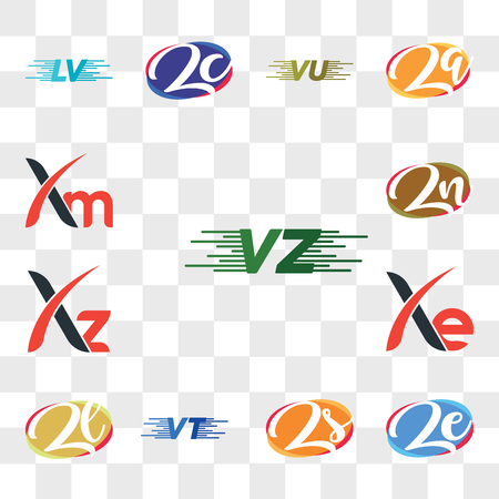 Set Of 13 transparent editable icons such as VU or UV, ze ez, Zs sZ, VT, Zl lZ, Xe, Xz, Zn nZ, Xm, web ui icon pack, transparency set