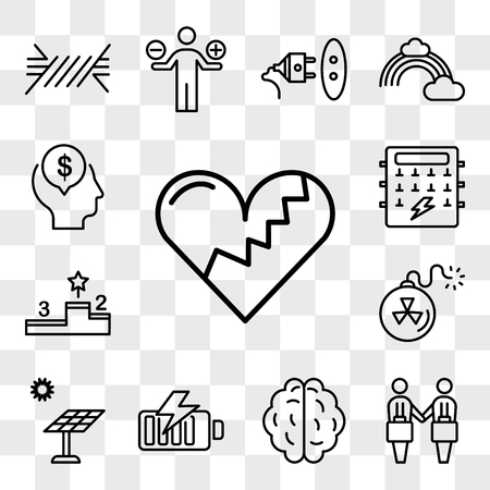 Set Of 13 transparent editable icons such as Broken heart, Deal, Brain, Battery, Solar panel, Bomb, Podium, Fuse box, Mind, web ui icon pack, transparency set Stock Illustratie