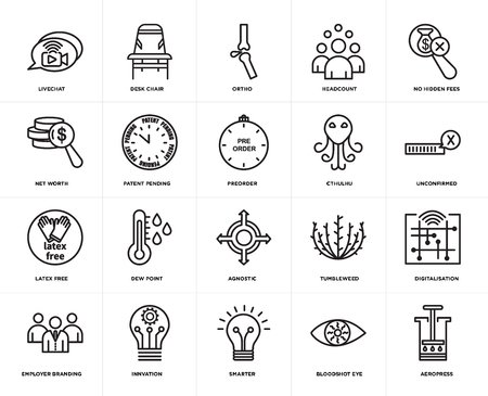 Set Of 20 simple editable icons such as aeropress, unconfirmed, no hidden fees, headcount, employer branding, Desk chair, tumbleweed, net worth, web UI icon pack, pixel perfect