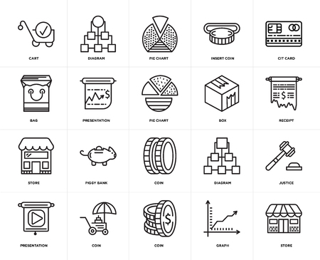 Set Of 20 icons such as Store, Graph, Coin, Presentation, Cit card, Box, Pie chart, web UI editable icon pack, pixel perfect