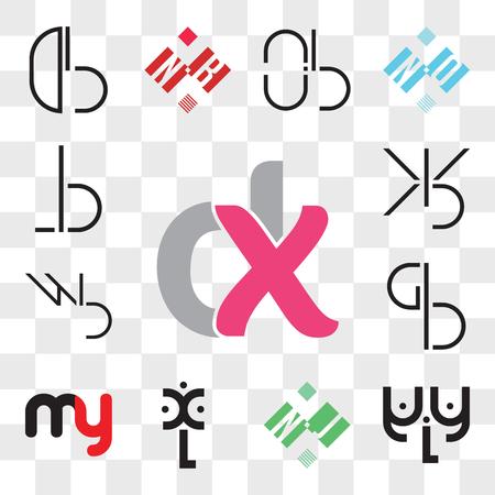 Conjunto de 13 iconos editables transparentes como, aLa, NJ o JN, xL, my ym, BG, GB, BW, WB, BX, XB, BL, LB, paquete de iconos de interfaz de usuario web, conjunto de transparencia